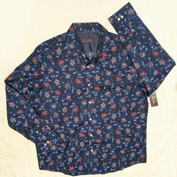 NWT Tasso Elba long sleeve print dress shirt XL